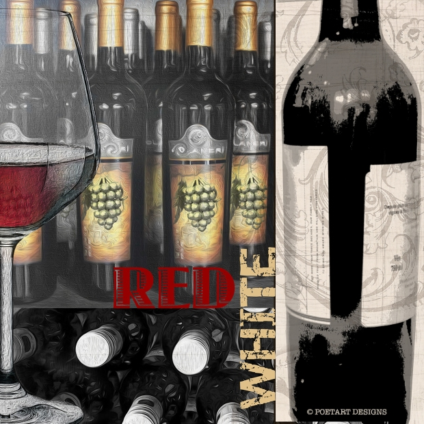 red wine, white wine, bottle