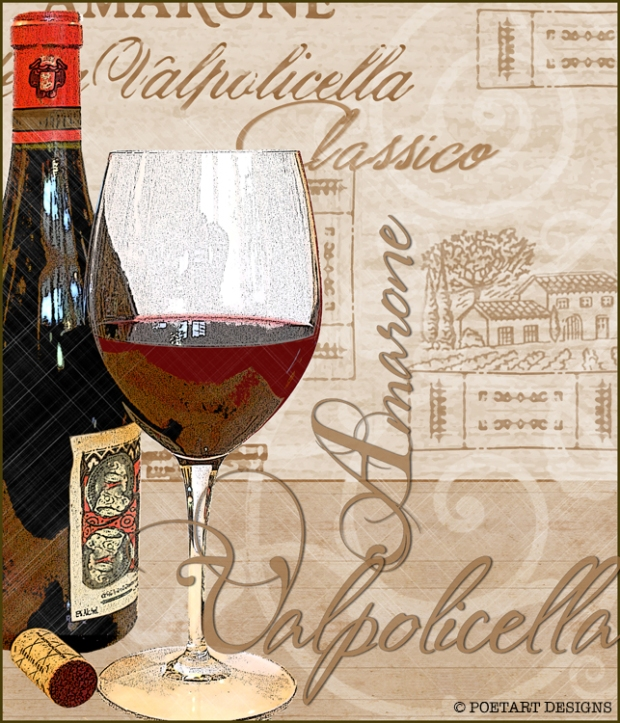 Valpolicello classico, red wine, bottle, glass